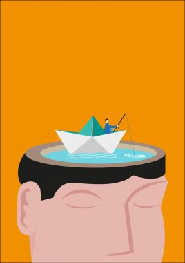 A Fisherman Riding a Paperboat Floats on a Head Made of a Lake. Editable Concept.