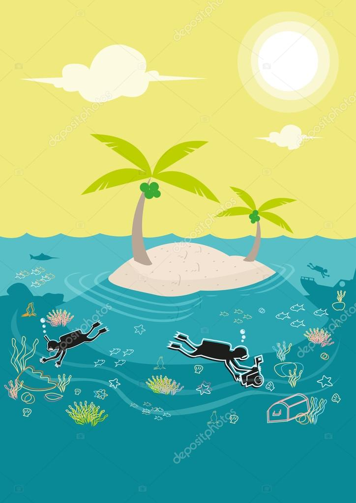 Diving lessons in a coral rich island and sea level issue. Editable Clip Art.