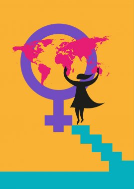 International Women's Day image or rights about women concept.  Editable Clip Art.