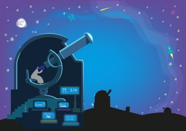A man inside an observatory with a Large Telescopes and Laboratory searching for heavenly bodies in the universe. Editable Vector Clip Art.