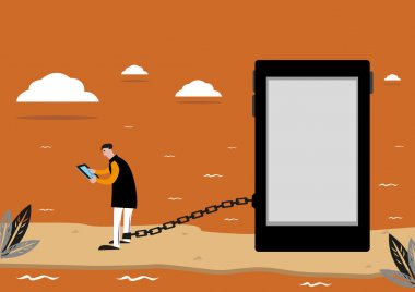 Prisoner of Social Media or Addiction to the Internet. Editable Clip Art.