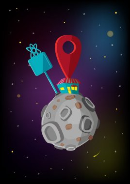 A store in the moon with location sign concept. Editable Clip Art.