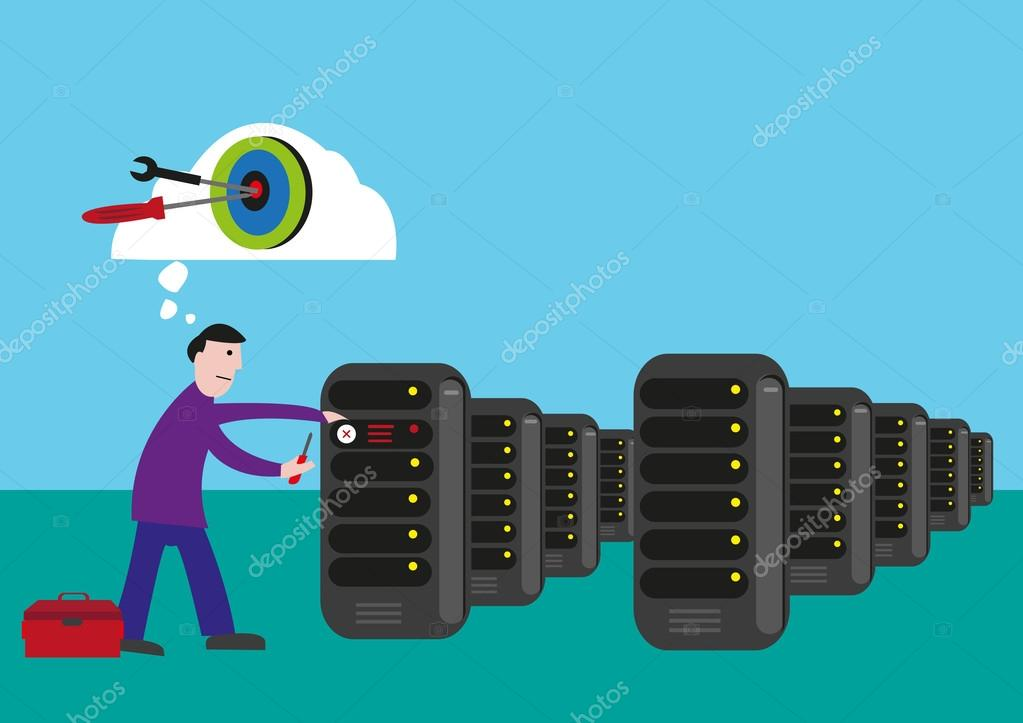 IT Technician targets to fix and solve the problem in the server room. Editable Clip Art.