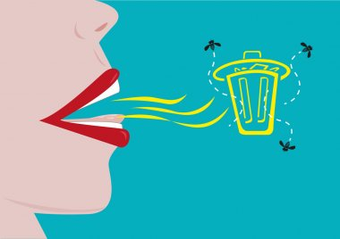 Bad Breath concept with garbage symbolizes odor. Editable Clip Art.