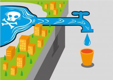 Getting toxic water from a water source with lewhich is deadly. Editable Clip Art.