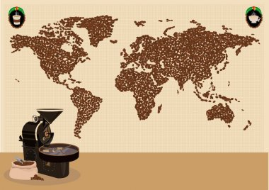 Coffee drinkers infographic or use around the world map concept. Editable Clip Art.