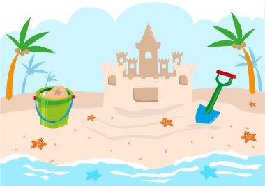 Kids Castle Building Tools on a Beach. Editable Clip Art.