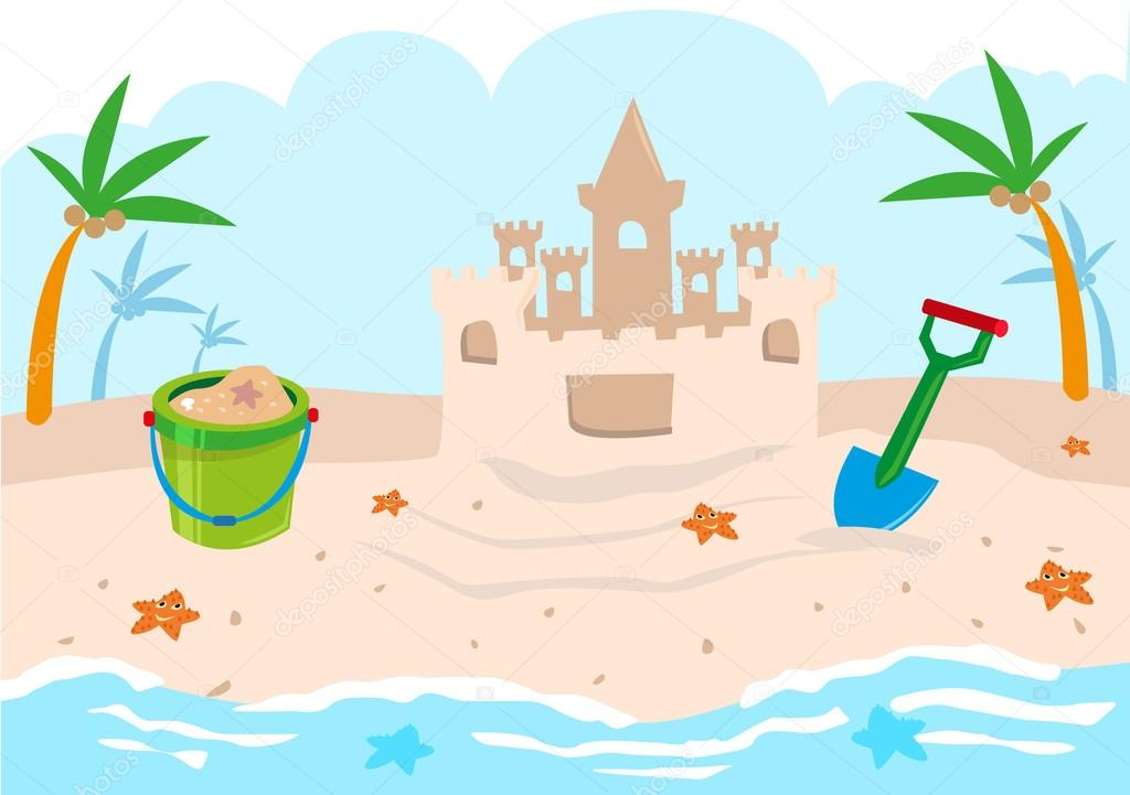 Kids Castle Building Tools on a Beach. Editable Clip Art.