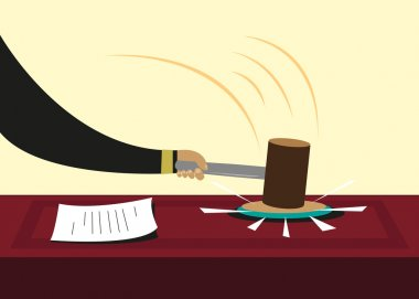 Gavel or hammer used in courts or political sessions. Editable Clip Art.