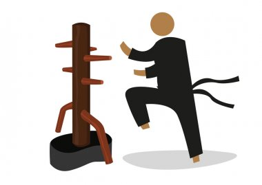 Man Attacks a Wooden Dummy used in personal training by martial artist. Editable Clip Art.