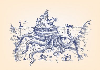 A Disguised Giant Octopus Hides Underwater and Attacks a Fisherman