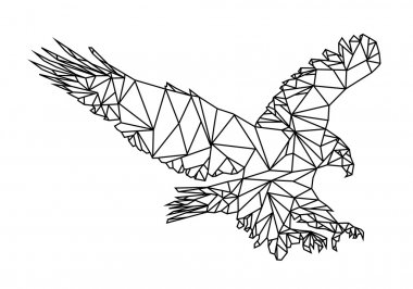 Low Poly graphic design of an American Eagle or bald Eagle landing. Editable Vector EPS10.