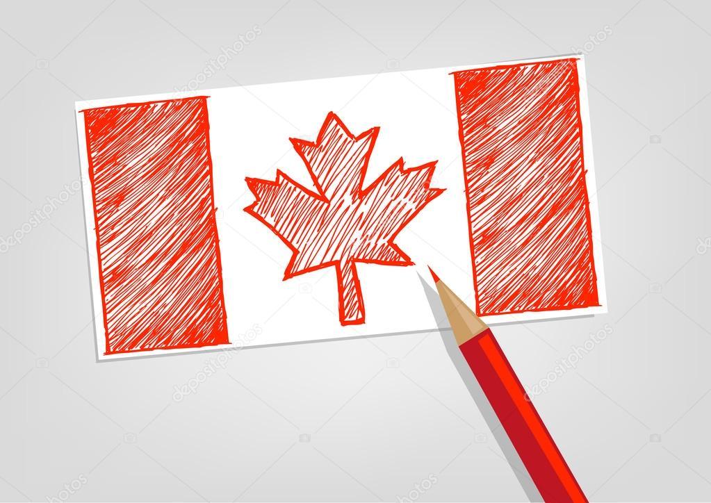 カナダの旗スケッチ スタイル赤鉛筆色です編集可能なクリップアート
