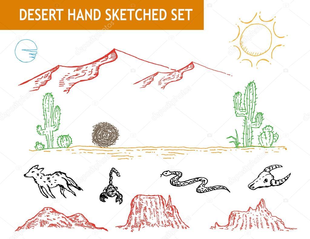 Western desert doodle set. Editable Clip art.