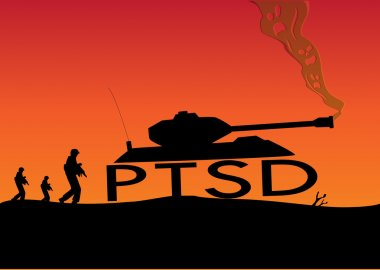 Post Traumatic Stress Disorder Concept. Soldiers walk with War Tank built with PTSD letters as its wheels and skulls as smoke. Editable Clip Art.