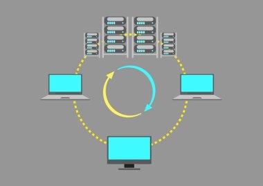 A Server Farm or  Web Data center concept. Editable Clip Art.