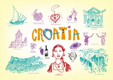 Croatia Culture and Tourist Spots Doodle Handdrawn style images. Vector EPS10 illustration Outline art and Jpg versions.