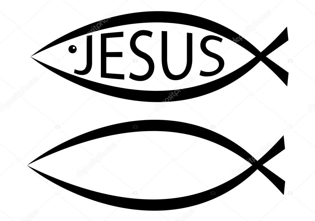 Christianitys Ichthys Fish Symbol Blank And With Jesus Text On