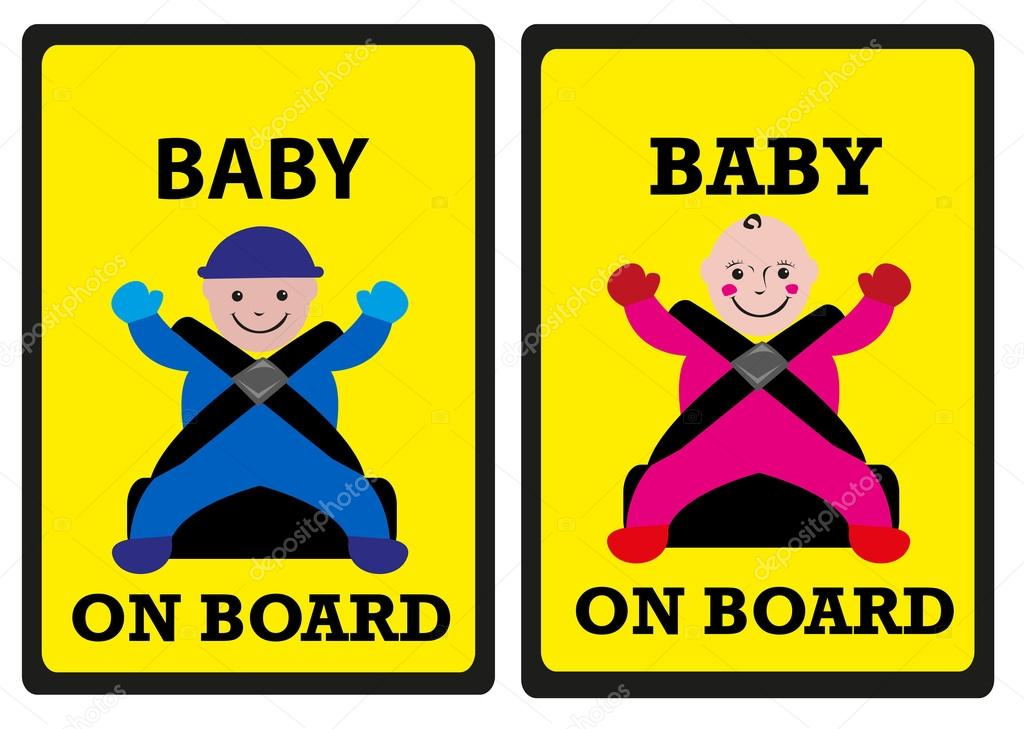 Baby on Board Car Safety Signs  Boy and Girl Versions