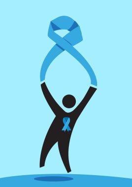 Man Holds Blue Ribbon  for Varied Awareness (Male version). Editable Clip Art.