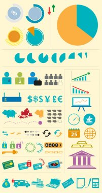 Set of Financial Institutions or Varied Business Infographics  Elements. Editable Clip Art.