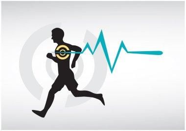 Running Man Heartbeat Monitor Vector. Editable Clip Art.