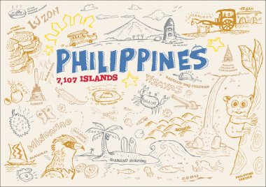 Philippines Tourism Doodle Collection. EPS10 Editable Clip Art Outline Illustration