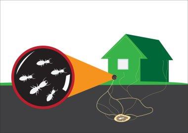 Termite attacks home from underground. Editable Clip Art.