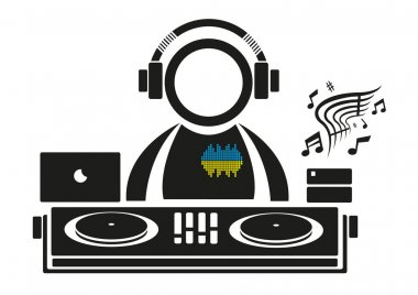 DJ playing music on a remixing deck isolated icon. Vector Illustration. ESP10 Editable Clip Art.