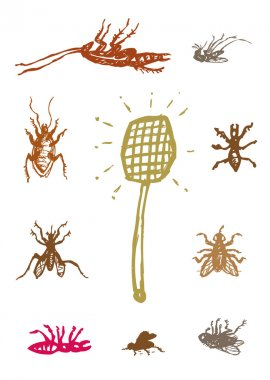 Dead Household Pests with Swatter. Pest control vector. Editable Clip Art.