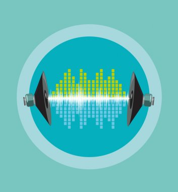 Audio or Sound  Engineering Concept. Electronic Soundwaves travel between 2 speakers. Editable Clip Art.