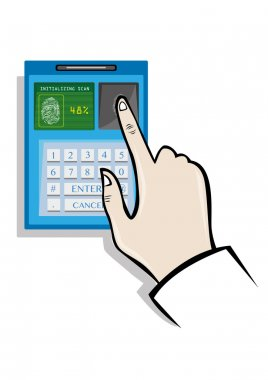 Fingerprint Biometrics Technology concept. Editable Clip Art.