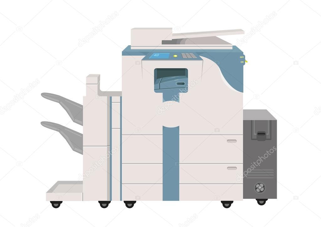 Hi-tech Photocopier Machine. EPS10 Vector Illustration. Editable Clip Art.