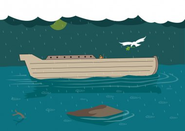 Noah waits for the dove to return to his Ark with a leaf during the great flash flood. Editable Clip Art.