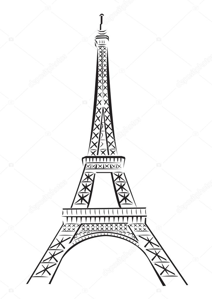 la tour eiffel drawing sketch coloring page. Black Bedroom Furniture Sets. Home Design Ideas
