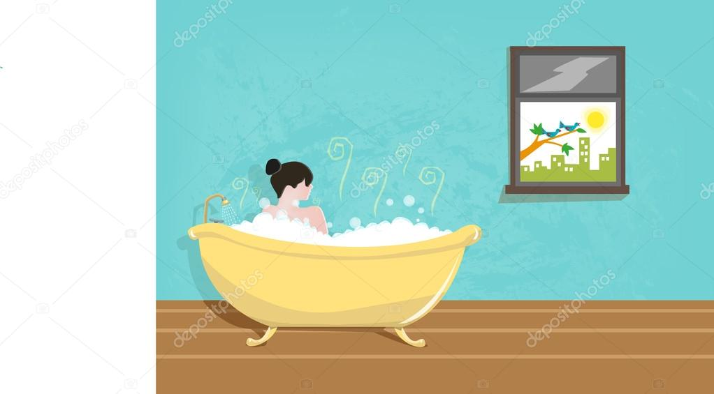 Lady taking a Bath using a Vintage Tub — Stock Vector ...