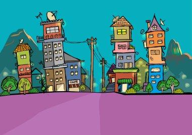 Rio de Jainero, Brazil at Night Skyline cartoon. Stylized illustration concept