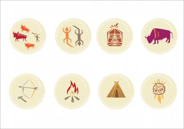 American Indian and Primitive Culture icons. Editable Clip Art.