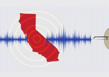 California Earthquake Concept. Editable Clip Art.