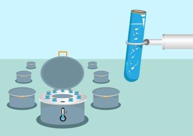 Sperm Bank Storage and Fertility. Editable Clip Art.