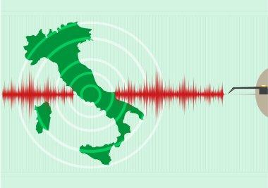 Italy Map Earthquake. Editable Clip Art.