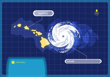 Hawaii Islands Map with Eye of Typhoon