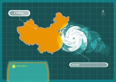 China Map with Eye of Typhoon