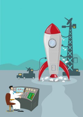 Retro Rocket Ready to Launch. Ground Control Scientist. Editable Clip Art.