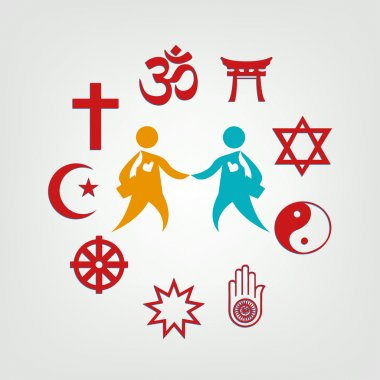 Interfaith Dialogue illustration. Religions Unite as One. Editable Clip Art.