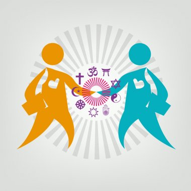 Two Persons Hold Hands Within Religious Symbols. Editable Clip art.