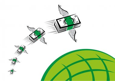 Remittance Conceptual Art. Green Money with wings flies fast over a green globe. Editable Clip Art.
