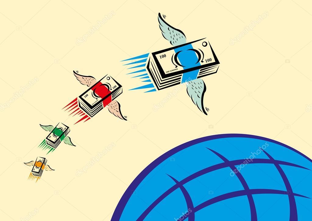 Geld über ein blauer Globus zu fliegen. Rimesse-Transfer-Konzept ...