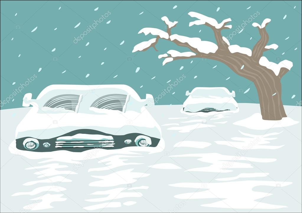 Great Snowfall Blizzard Covers a Street with Cars. Editable Clip Art.