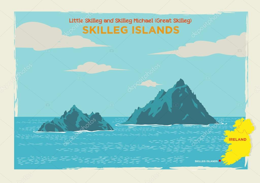 Two Islands Skellig Michael or Great Skellig and Little Skellig in Country Kerry, Ireland. Editable Clip Art.